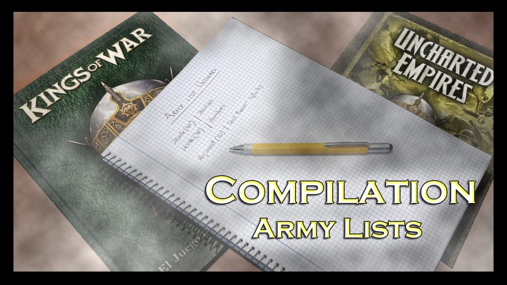 Kings of War Army list Listas de ejército
