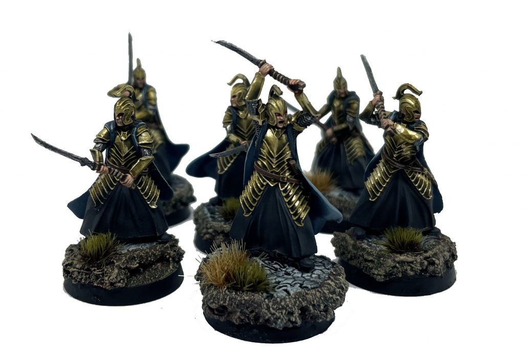 Warriors of Rivendell with Elven-made hand and a half sword Heavy armour