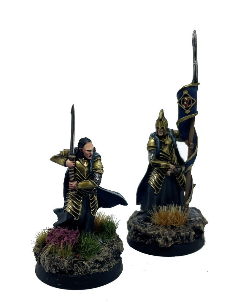 High elf captain rivendell with sword and banner